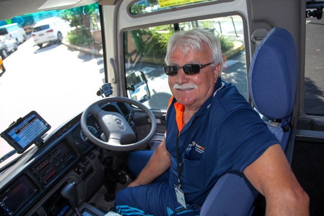 Easylink drive, Tony, in bus driver's seat.